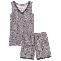 Piżama z dłuższymi szortami jasnoróżowo-szary z nadrukiem, Bonprix, S-M