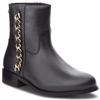 Botki TOMMY HILFIGER - Chain Detail Flat Boot FW0FW03391 Black 990