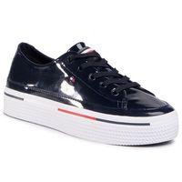 Tommy hilfiger Sneakersy - striped flatform sneaker fw0fw04710 desert sky dw5