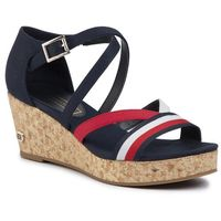 Sandały - corporate detail mid wedge fw0fw04616 desert sky dw5, Tommy hilfiger, 36-40