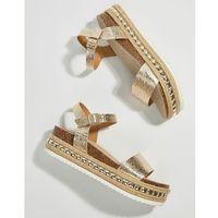 Faith Studded Flatform Espadrille Sandals - Silver, kolor szary