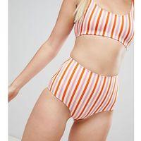 Monki Multi Stripe High Waist Bikini Bottom - Multi, w 2 rozmiarach