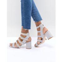 Faith Exclusive Buckle Block Heeled Sandals - Grey, kolor szary