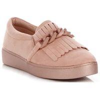 Firmowe buty damskie mokasyny z łańcuchem marki pudrowy róż (kolory) marki Lady glory
