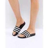 Adidas originals adilette slider sandals in black - black