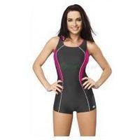 JANA strój kąpielowy pływacki spodenkowy grafit/róż gWINNER + Czepek | WYSYŁKA 24h, kolor szary