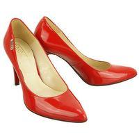 1406 czerwony lakier, czółenka damskie na szpilce - czerwony marki Embis
