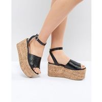 Lost Ink Blu Black Cork Flatform Sandals - Black