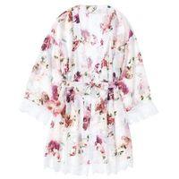 Szlafrok kimono bonprix z nadrukiem, kolor różowy
