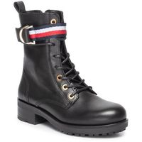 Botki TOMMY HILFIGER - Corporate Ribbon Bikeboot FW0FW04326 Black 990, kolor czarny