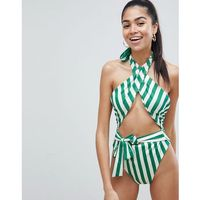 PrettyLittleThing Stripe Halterneck Cut Out Swimsuit - Green, kolor zielony