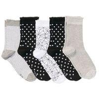 Skarpetki damskie (5 par) bonprix czarno-biało-szary wzorzysty, kolor czarny