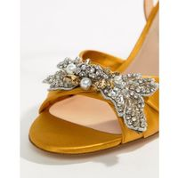 embellished mustard heeled sandals - yellow, Aldo