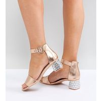 Lost ink wide fit rose gold metallic jewelled mid block heeled sandals - copper