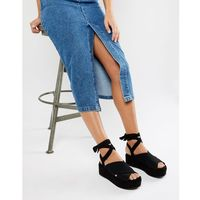 River Island flatform sandals with tie detail in black - Black, kolor czarny