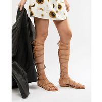 RAID Stone High Leg Gladiator Sandals - Beige
