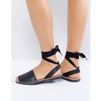 flat tie ankle leather sandal - black marki Park lane