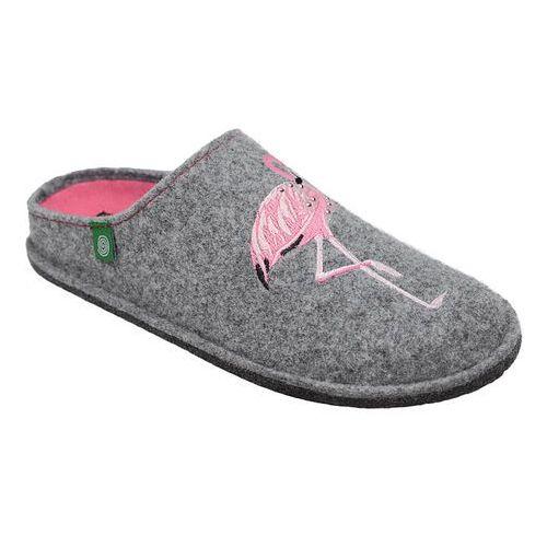 Kapcie Dr BRINKMANN 320544-9 Popielate Pantofle domowe Ciapy Flamingi (4061168009485)