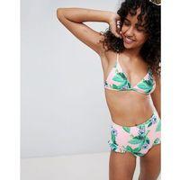 Monki Mix And Match Floral Ruffle Triangle Bikini Top - Multi, bikini