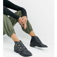 multi buckle wide fit flat ankle boots - black, Park lane