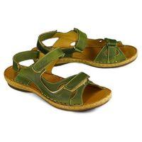 ŁUKBUT 637 zielony, sandały damskie, kolor zielony
