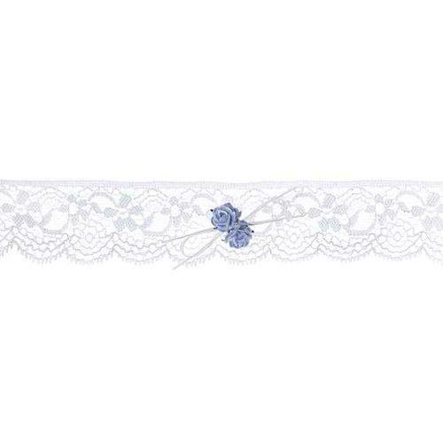 Podwiązka koronkowa z różyczkami, kremowy (5901157494641)