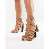 River Island heeled sandals with block heel and tassel detail - Beige