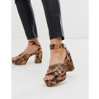 London rebel platform heeled sandals in snake - brown