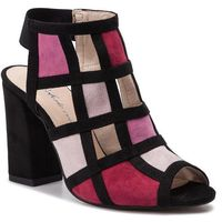 Sandały ROBERTO - 274/A Mix Róż/Czarny Zamsz, w 5 rozmiarach