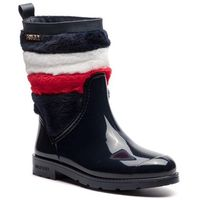 Kalosze - corporate faux fur rain boot fw0fw03616 midnight 403 marki Tommy hilfiger