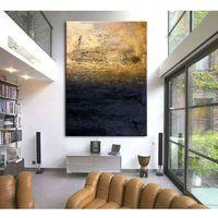 """Obrazy nowoczesne """"granatowa toń ze złotem"""" ręcznie malowane w technice strukturalnej duży 100x150cm marki Pracownia art.&texture"""