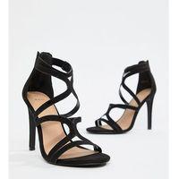 New look wide fit multi strap high heeled sandal - black