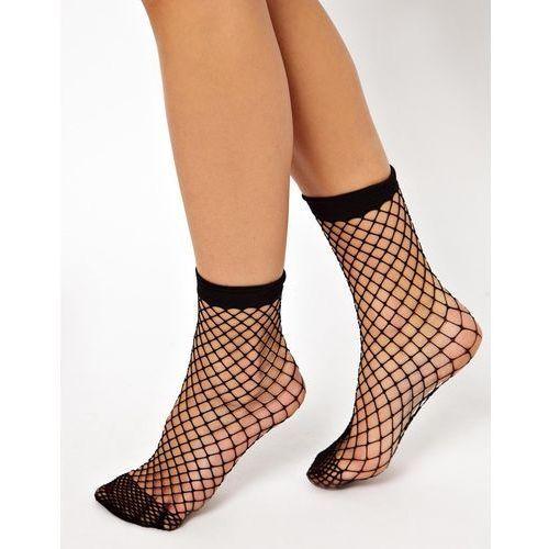 design oversized fishnet ankle socks - black, Asos