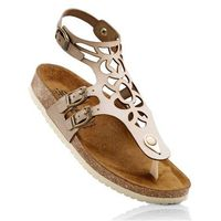 Sandały skórzane bonprix beżowy, kolor beżowy