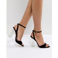 Faith Doris Clear Heel Sandals - Black