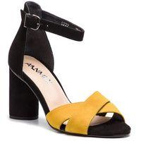 Sandały - 0222 01w 10w czarny żółty, Ann mex, 36-40
