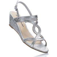 Sandały na koturnie bonprix srebrny, w 2 rozmiarach
