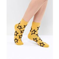 Asos design fluffy star ankle socks in mustard - yellow