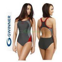 ALINKA strój kąpielowy pływacki grafit/czerwień gWINNER + Czepek | WYSYŁKA 24h