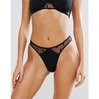 Lost Ink Polka Dot Mesh Bikini Bottom - Black, 1 rozmiar