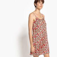 Prosta, krótka sukienka w kwiecisty wzór, cienkie ramiączka, sukienka