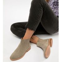 ASOS DESIGN Wide Fit Aura suede chelsea ankle boots - Stone