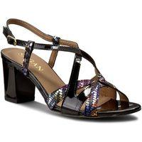 Sandały SAGAN - 2530 Czarny Lakier/Multicolor Kwiaty