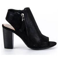 Czarne sandały z cholewką, kolor czarny