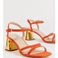 wide fit mid heel stud sandals - orange, London rebel