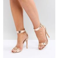 Truffle Collection Wide Fit Jewel Buckle Barely There Sandal - Copper