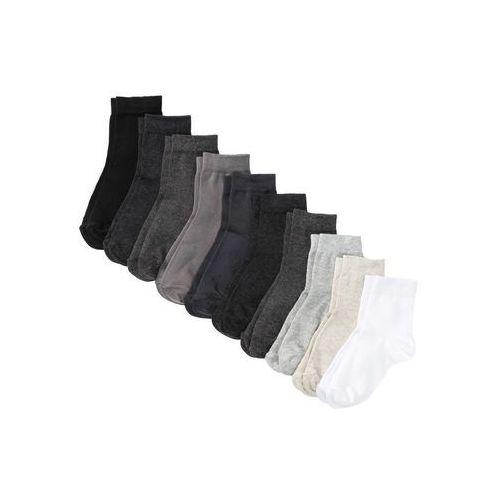 Krótkie skarpetki basic (10 szt.) bonprix odcienie szarego