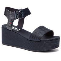 Tommy jeans Sandały - material mix flatform sandal en0en00561 midnight 403