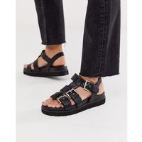 Office Sabrina black leather flat buckle sandals - Black, kolor czarny