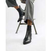 marja black leather western pointed ankle boots - black, Vagabond